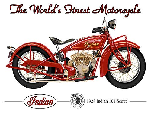 American Collectibles The World's Finest Motorcycle 1928 Indian 101 Scout by Michael Fishel Metal Sign