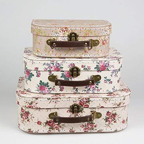 Sass & Belle, set di 3scatole portaoggetti a forma di valigia, in vari disegni e colori Rose