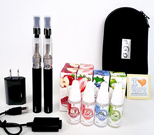 電子タバコ eGO-T CE-4 本体2本セット&リキッド10本付き!オリジナルステッカー封入。大容量1100mAh キャリングケース 電子たばこ 安心検査済みリキッド 禁煙グッズ (フルーツリキッドミックス10本セット(アップル、ストロベリー、ブルーベリ