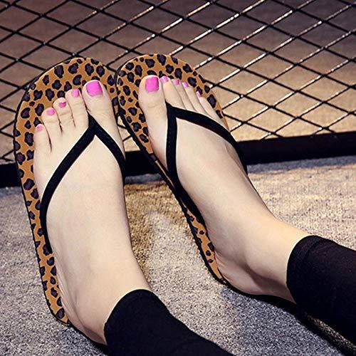 KADIC Summer Beach Slippers Mujer Chanclas Sandalias de Playa Leopard Black Casual Tacón Plano Sandalias de Mujer, Leopard, 36