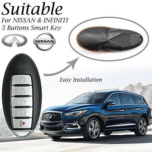 Vitodeco Leather Smart Key Fob Case Cover for 2020 Nissan Versa, Sentra, Altima, Maxima, Rogue, 2020 Infiniti Q50, Q60, QX50, QX60, QX80 and More Models (5 Buttons, Black/Red)