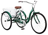Schwinn Meridian Adult Trike, Three Wheel Cruiser Bike, 1-Speed, 26-Inch Wheels, Cargo Basket, Green