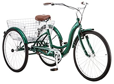 Schwinn Meridian Adult Trike, Three Wheel Cruiser Bike, 1-Speed, 26-Inch Wheels, Cargo Basket, Green
