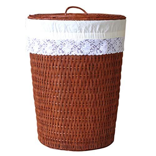 ZAQI Cesto Ropa Sucia Cesto de lavandería de Mimbre con Tapas y Forros de Tela, Cesta de Ropa Sucia for el niño de Las niñas de Nursery (Color : B)
