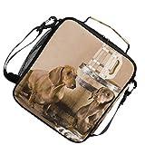 Lunch Bag Insulated Two Dackel Mit Bierwärmer Kühler für Picknick Verstellbarer Gurt Dinosaurier Schulter