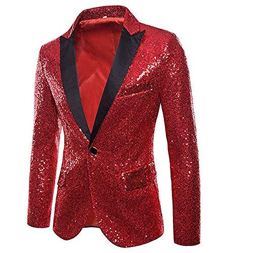 CHRONSTYLE Herren Slim Fit Sakko Blazer Anzugjacke Freizeit EIN-Knopf Pailletten Glitter Anzug Jacke Karneval Kostüm für Hochzeit Party Festlich (rot, L)