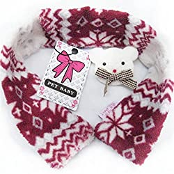 Lilyeyes Christmas Pet Dog Scarf Soft Warm Bear Decor Snowflake Pattern