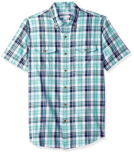 Amazon Essentials Men's Slim-Fit Short-Sleeve Two-Pocket Twill Shirt, Green/Blue Check, Large