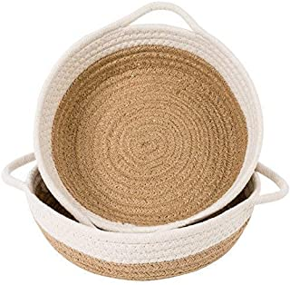 """Goodpick 2pack Cotton Rope Basket - Woven Storage Basket - 9.8"""" x 8.7"""" x 2.8"""" Small Rope Baskets for Kids Home Decor Toy B..."""