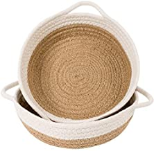 Goodpick 2pack Cotton Rope Basket - Woven Storage Basket - 9.8 x 8.7 x 2.8 Small Rope Baskets for Kids Home Decor Toy Bask...