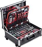 Meister Werkzeugtrolley 156-teilig - Werkzeug-Set - Mit Rollen - Teleskophandgriff / Profi Werkzeugkoffer befüllt / Werkzeugkiste fahrbar auf Rollen / Werkzeugbox komplett mit Werkzeug /...