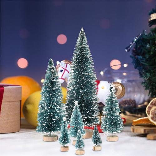 iBàste Miniatur-Weihnachtsbaum Kleine Artificial Miniatures Sisal Frost Bäume Diorama Modelle Micro Landschaft Landschaftsarchitektur Winter-Verzierungen 7PCS