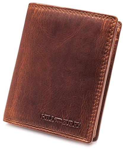 Hill Burry Geldbörse aus echtem Leder | Herren Portemonnaie aus hochwertigem Vollleder | Große Vintage Brieftasche für Männer | RFID Schutz (Braun)