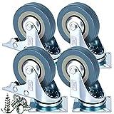 Juego de ruedas giratorias, de goma, de 50 mm, con freno, 200 kg, libre montaje, 4...