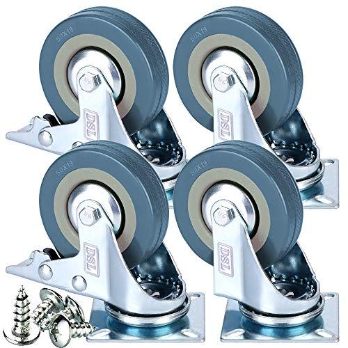 Lot de 4 roulettes pivotantes résistantes en caoutchouc avec frein 50 mm 200 kg + ajusteur gratuit