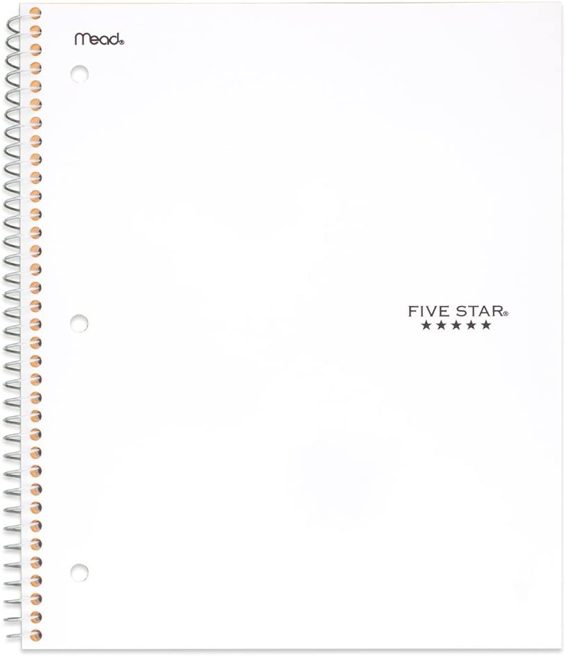 Black 150 Sheets 72069 3 Subject 04 Black 11 x 8-1//2 College Ruled Paper Five Star Spiral Notebook Limited Edition