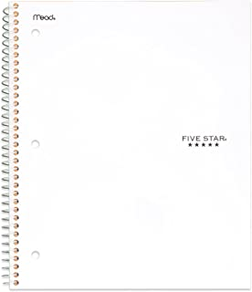 Five Star Spiral Notebook, 5 Subject, College Ruled, 200 Sheets, 11 x 8.5 Inch, White (72460)