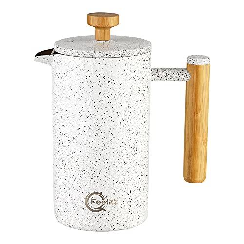 QFeelzz - French-Press aus Edelstahl im Bambus-Design [600ml] – Hochwertiger Kaffeebereiter inkl. Ersatzfilter in Marmor-Optik