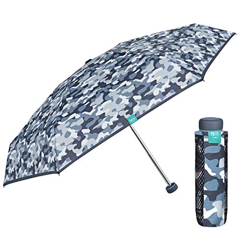 Taschenschirm Regenschirm Kompakt mit Camouflage Muster - Tarndruck Minischirm Super Klein Klappbar Mädchen - Damenschirm Schirm Etui mit Netzeinsätzen - Durchmesser 90 cm - Perletti (Tarnung Blau)