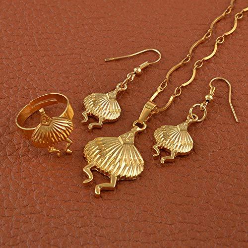 NCDFH Papua Guinea Gold Color t Collar Pendientes Anillo de Color Libre Conjuntos de Joyas de Aves Regalos # J0150 Redimensionable 60cm