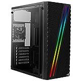 Aerocool STREAK, caja de PC ATX, RGB 18 modos, panel lateral, ventilador 80mm, negro