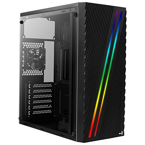 Aerocool STREAK, Case PC ATX, RGB, Pannello Laterale, Ventola da 80 mm, Nero