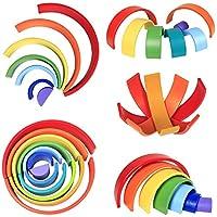 Lewo 12 Pezzi Impilatore Arcobaleno in Legno Gigante Puzzle di Annidamento Gioco di Impilamento Giocattoli Montessori in Legno Arch Building Blocks Giocattolo Educativo per Bambini Piccoli Maschietti #2
