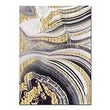 Lámina de oro Pintura al óleo Gris Cartel Pintura Lienzo Pintura al óleo Jardín de infantes Sala de estar Inicio Decoración de la pared 50x70cm