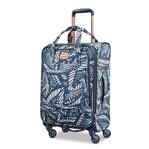 American Tourister Belle Voyage Softside Luggage with Spinner Wheels, Floral Indigo Sand, Carry-On 21-Inch