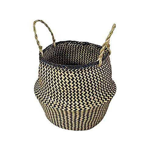 Demarkt Aufbewahrungskorb aus Seegras Geflochten Korb mit Griff Einkaufskorb Blumentöpfe Aufbewahrungskorb