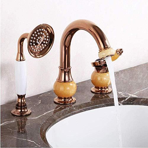 Grifo de lavabo de latón dorado rosa y jade de 3 agujeros grifo de bañera de baño grifo de ducha baño baño ducha baño lavabo grifo mezclador de agua