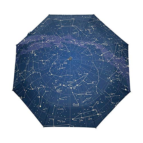 SJZS Regenschirm Kreative Automatische 12 Constellation Universe Galaxy-Raum spielt Regenschirm Sternenkarte Sternenhimmel Folding Umbrella for Frauen (Color : Full Automatic)