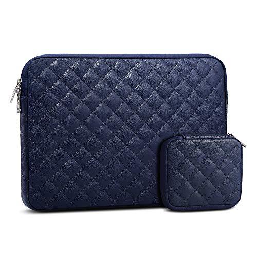AtailorBird Laptop Sleeve 15.6 Inch, Waterproof PU Leather Diamond Shaped Notebook Protective Bag with Small Case for Cable Earphone, Dark Blue
