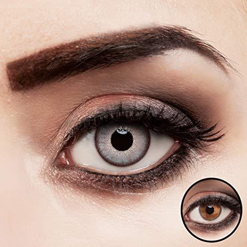 aricona Kontaktlinsen blau ohne Stärke farbige Jahreslinsen für dunkle Augen 2 Stück