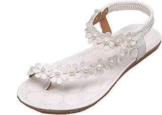 Women Girls Casual Flat Sandals, Huazi2 Summer Bohemia Flower Beads Flip Flop Flat Shoes