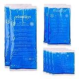 Relaxdays, Varios tamaños Pack de 8 Bolsas Frío Calor Reutilizables para Lesiones, Gel y PE, Azul