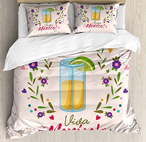 ABAKUHAUS Tequila Dekbedovertrekset, Bloemen Viva Mexico, Decoratieve 3-delige Bedset met 2 Sierslopen, 230 cm x 220 cm, Veelkleurig