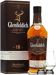 Glenfiddich 18 Jahre neue Ausstattung Single Malt Whisky 0,7 Liter  2 Glencairn Gläser