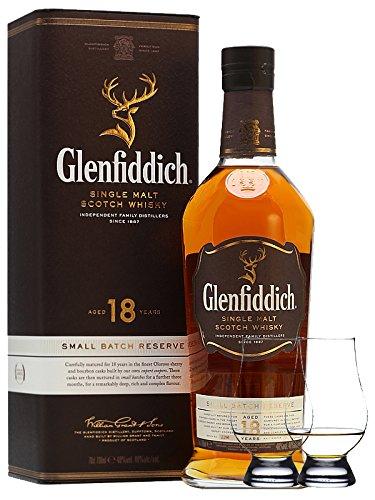 Glenfiddich 18 Jahre neue Ausstattung Single Malt Whisky 0,7 Liter + 2 Glencairn Gläser