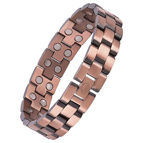 Jeroot Magnetarmband,Reines Kupfer Herren Magnetische Armbänder für Arthritis Verschluss Armband Magnet Herren Gesundheit Magnetarmband Energetix (3000 gauss)