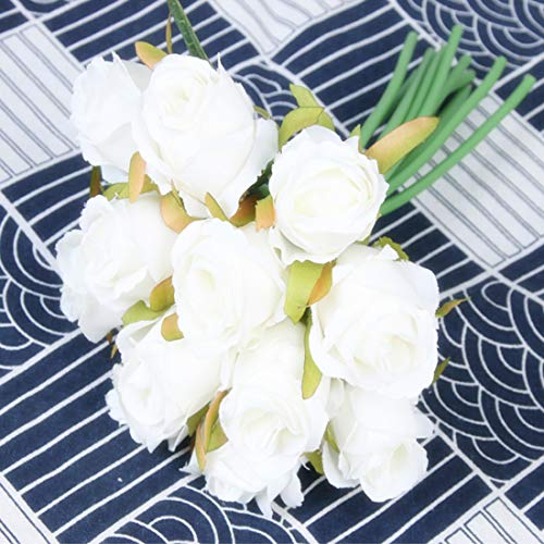 FCL RAN szaleństwo sztuczne róże jedwabne kwiaty na bukiet ślubny, aranżacje kwiatowe 5 kolorów, 12 róż w paczce (biały)