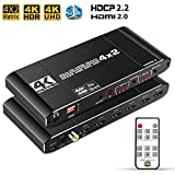 NEWCARE 4x2 HDMI Matrix Switch Splitter, 4K@60Hz 4:4:4 HDMI 2.0 Switcher 4 in 2 Out with IR Remote Controller Supports HDCP 2.2 18Gbps,Ultra HD 4K x 2K,3D 1080p,ARC,EDID, HDR Dolby Vision (Black)