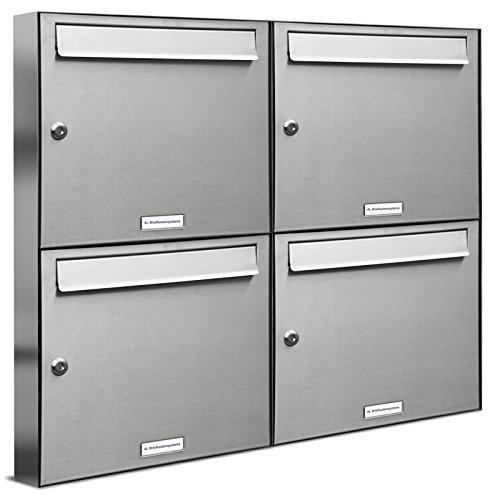 AL Briefkastensysteme 4 er Briefkastenanlage Edelstahl, Premium Briefkasten DIN A4, 4 Fach Postkasten modern Aufputz