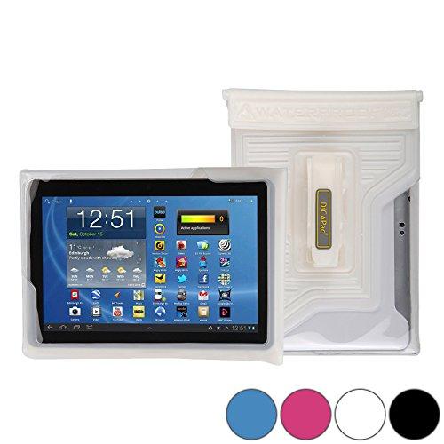 DiCAPac WP-T20 Universelle, wasserdichte Hülle für Toshiba Encore 2 10 / 2 Write 10, Tablet A204YB Tablets in Weiß (Doppel-Klettverschluss, IPX8-Zertifizierung zum Schutz vor Wasser bis 5m Tiefe; integriertes Luftkissen treibt auf dem Wasser und schützt das Gerät; extraklare Polycarbonat-Fotolinse; integrierte Handschlaufe)