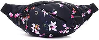 Fanny Pack,Waterproof Nylon Bum Bag Waist Bag Zipper Flower Print Belt for Women and Men Colorful