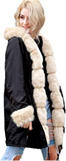 BOZEVON Women Winter Hooded Parka Jacket - Casual Trench Fur Collar Hooded Pockets Jacket Coat Long Winter Warm Faux Fur Outerwear Plus Size