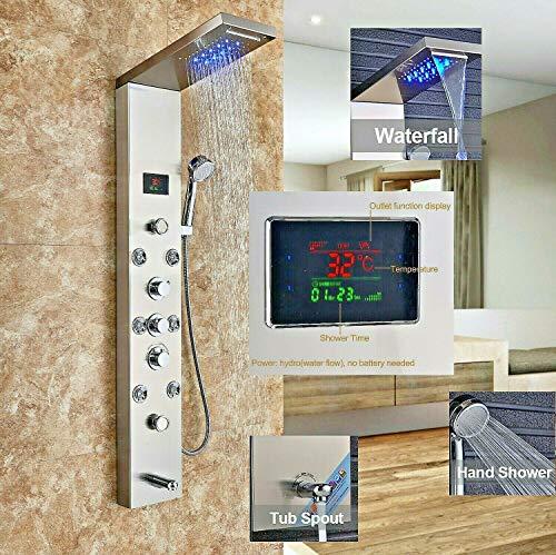 LED Duschpaneel aus rostfreiem Edelstahl mit Temperaturanzeige und 8 Massagedüsen Farbe: Nickel