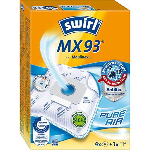 Swirl MX 93 MicroPor Plus Staubsaugerbeutel für Moulinex Staubsauger, Anti-Allergen-Filter, 4 Stück inkl. Filter