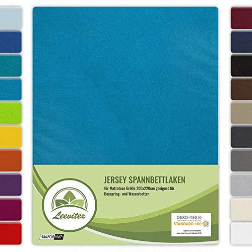 leevitex® Farbenfrohes Spannbettlaken für WASSERBETTEN & BOXSPRINGBETT Spannbetttuch Jersey 200 x 220cm, 40cm Steghöhe 100% Baumwolle ca. 160 g/m² (Türkis/Ocean)