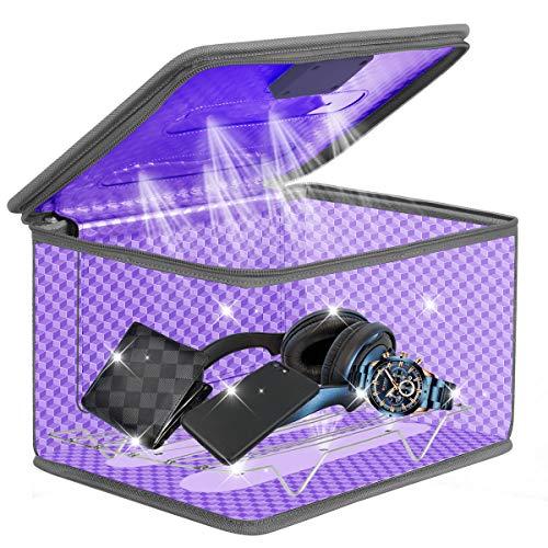 UV Sterilisator Box UVC Handy Tragbarer mit 12 Lampenperlen Telefon schnelle Reinigung, 5 Minuten Betriebszeit Geeignet für Zahnbürste/Brille/Maniküre/Beauty Tools/Tablet/Kinderspielzeug